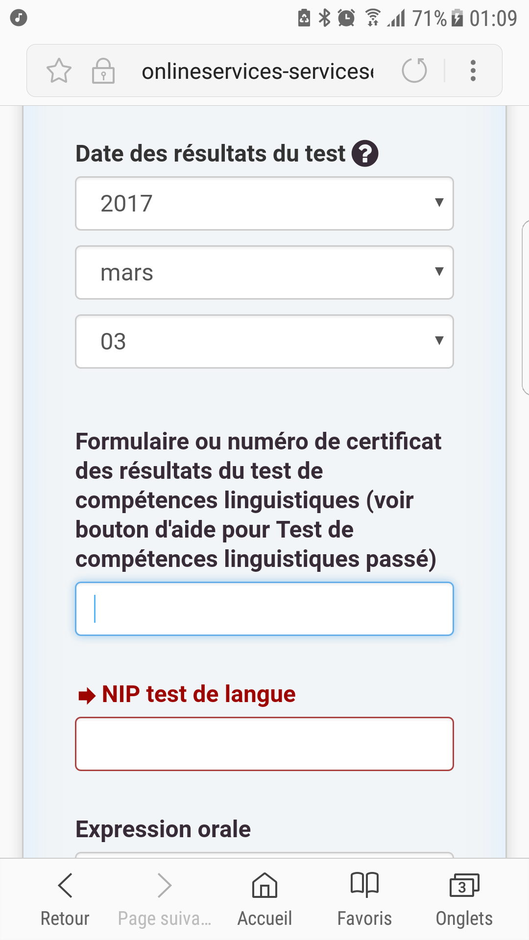 Canada NIP test de langue pour le profil Entrée Express ?