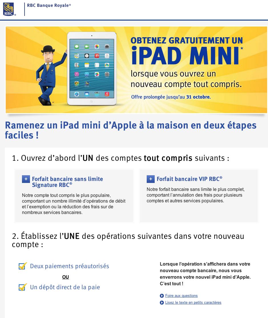 Canada ouvrez un compte chez la rbc et repartez avec un ipad for Assurance maison rbc