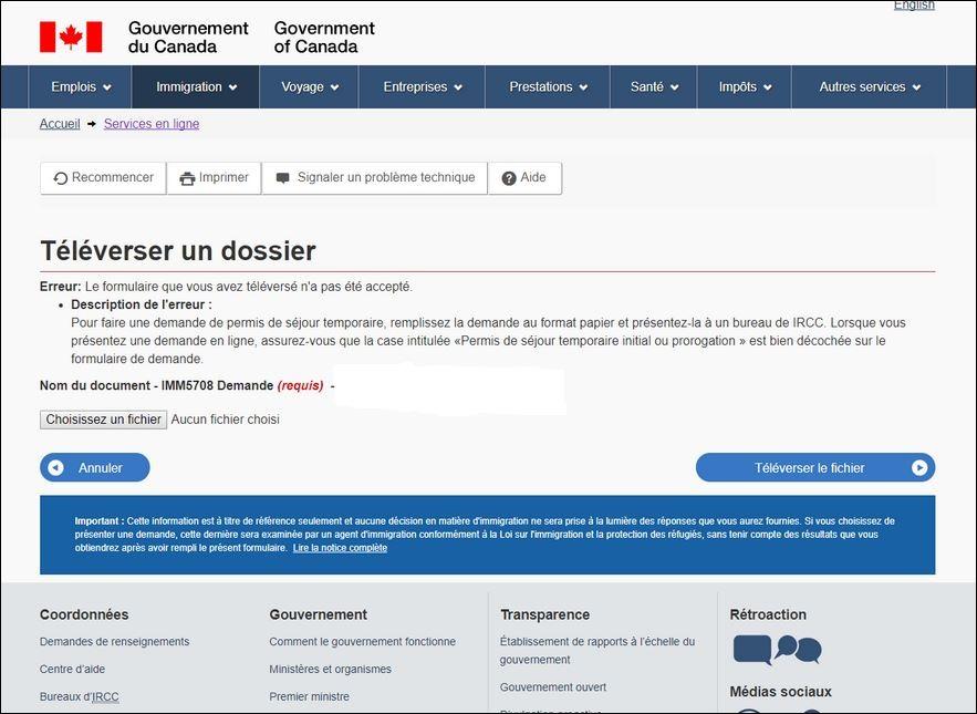 Canada Probleme Fichier IMM5708 pour prolongation visa visiteur