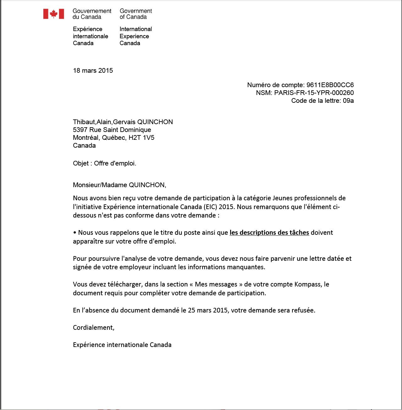 Lettre En Anglais: Canada Offre D'emploi Jeunes Pro