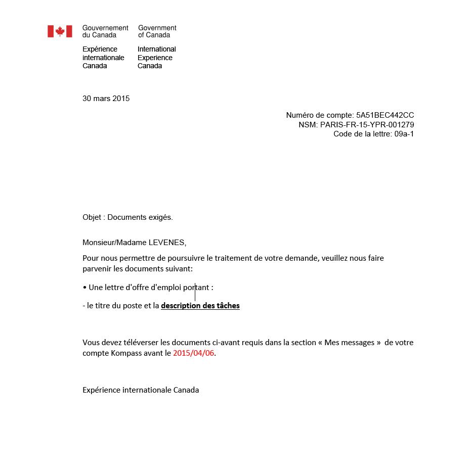 demande de lettre d\\\\\\\'emploi Canada Une lettre d'offre d'emploi demander ?? demande de lettre d\\\\\\\'emploi