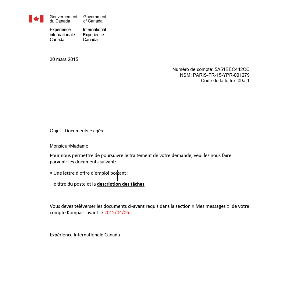 canada une lettre d u0026 39 offre d u0026 39 emploi demander