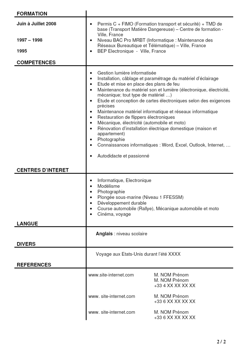 example resume  exemple cv canadien