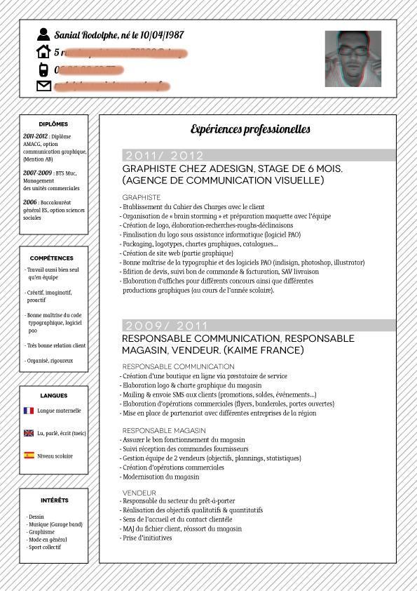 resume format  modele cv zara