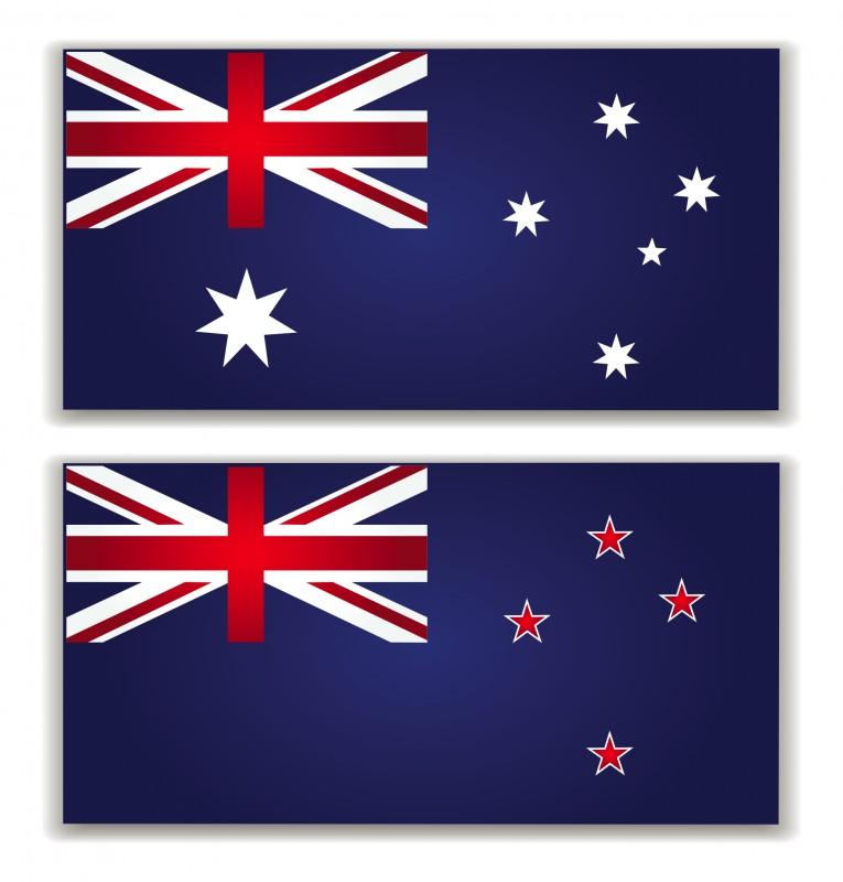 Diff rencier les drapeaux n o z landais et australien - Drapeau rouge avec drapeau anglais ...