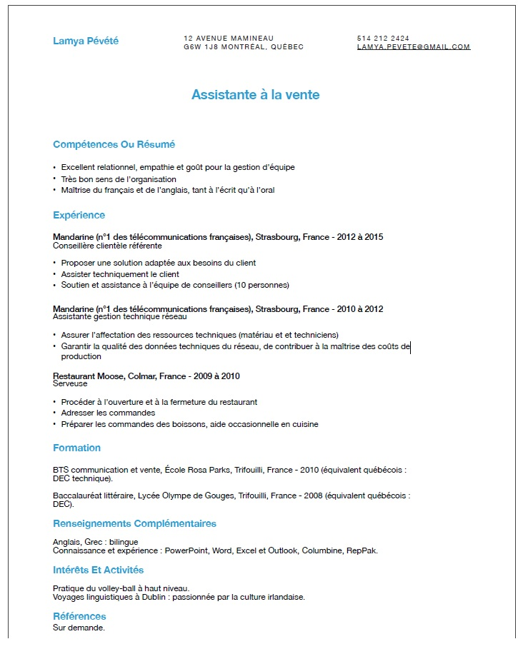exemple cv avec references