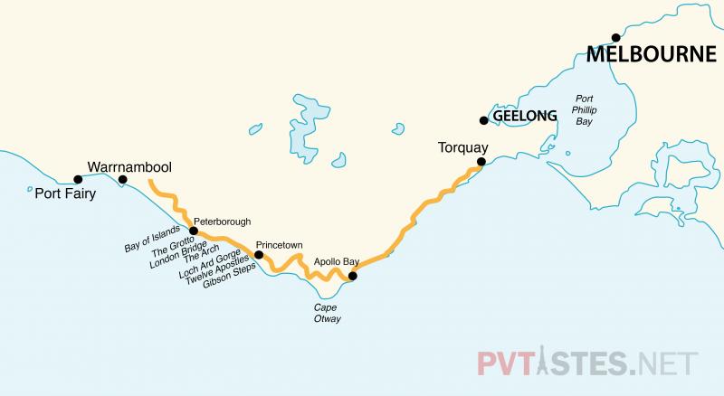 Carte-de-la-Great-Ocean-Road
