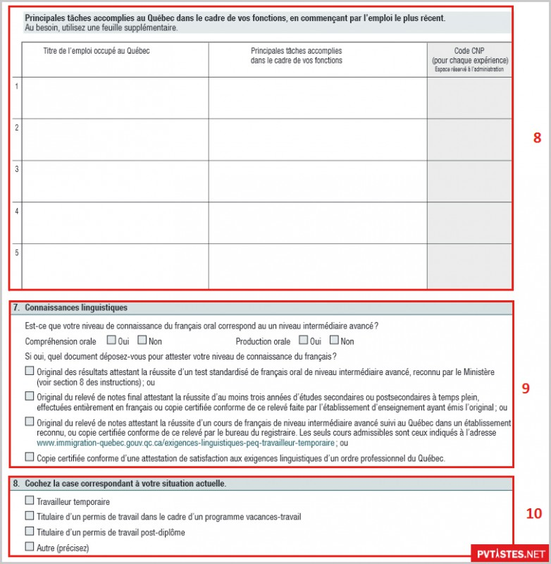 ... le permis de travail que vous avez au moment de la demande (10