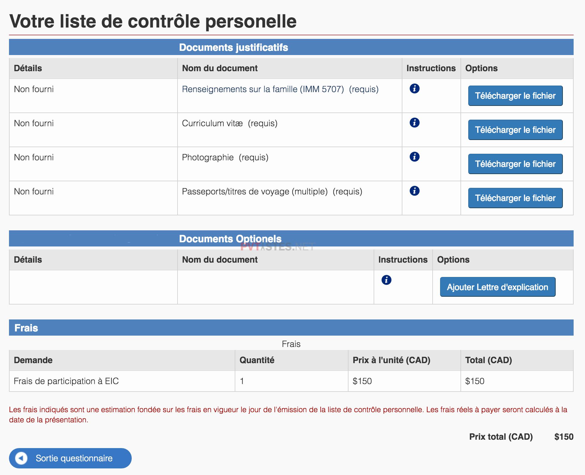liste de contrôle personnelle etc pvt