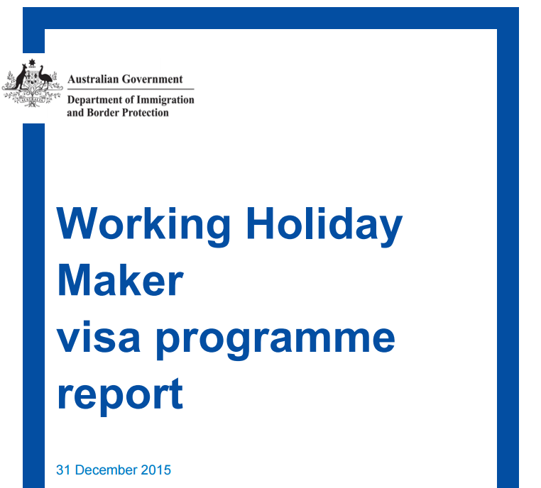 WHV Australie - rapport Working Holiday 2015