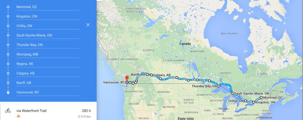 1, 2, 3 Canada itineraire
