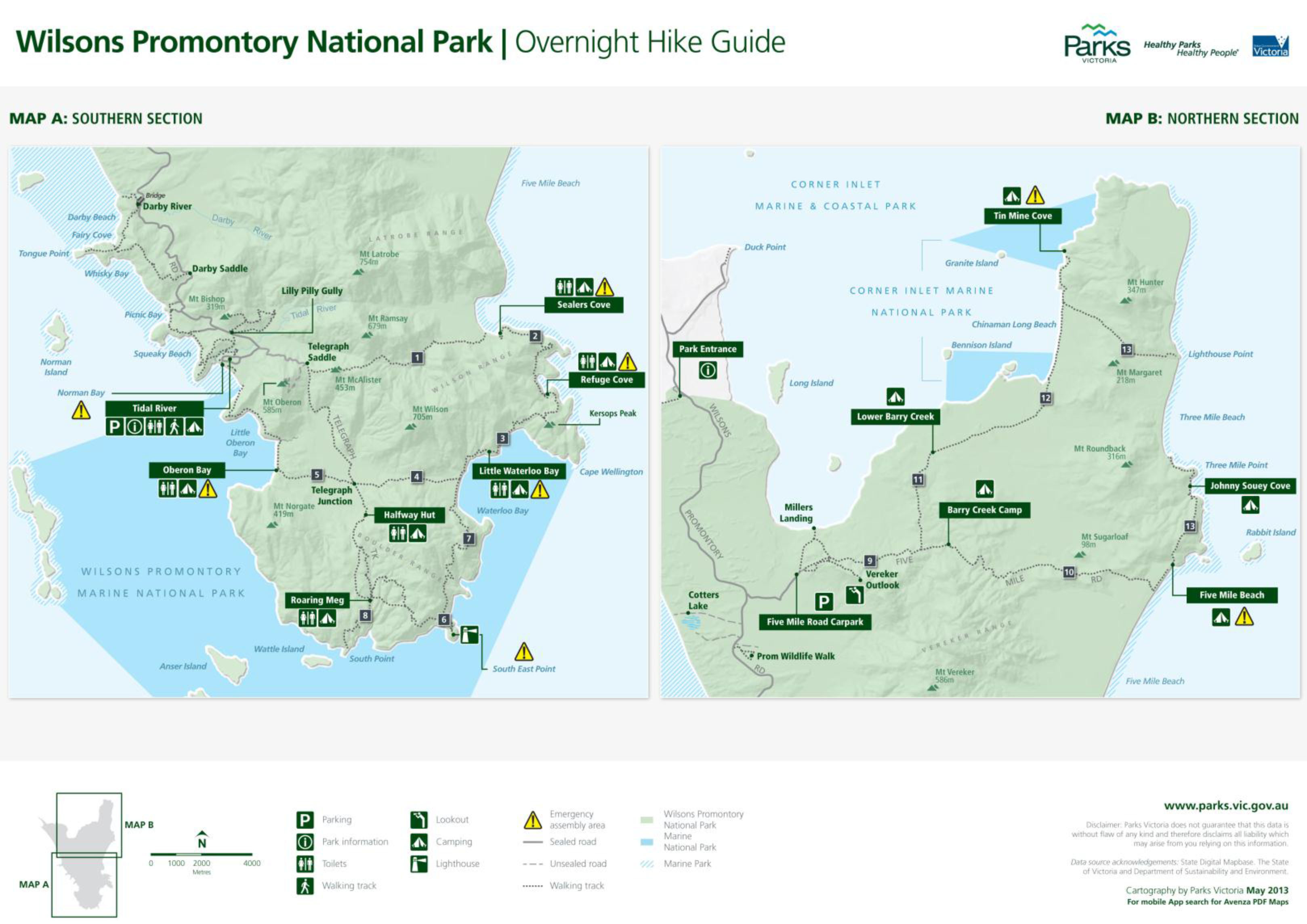 Wilsons Promontory Park-Carte-camping