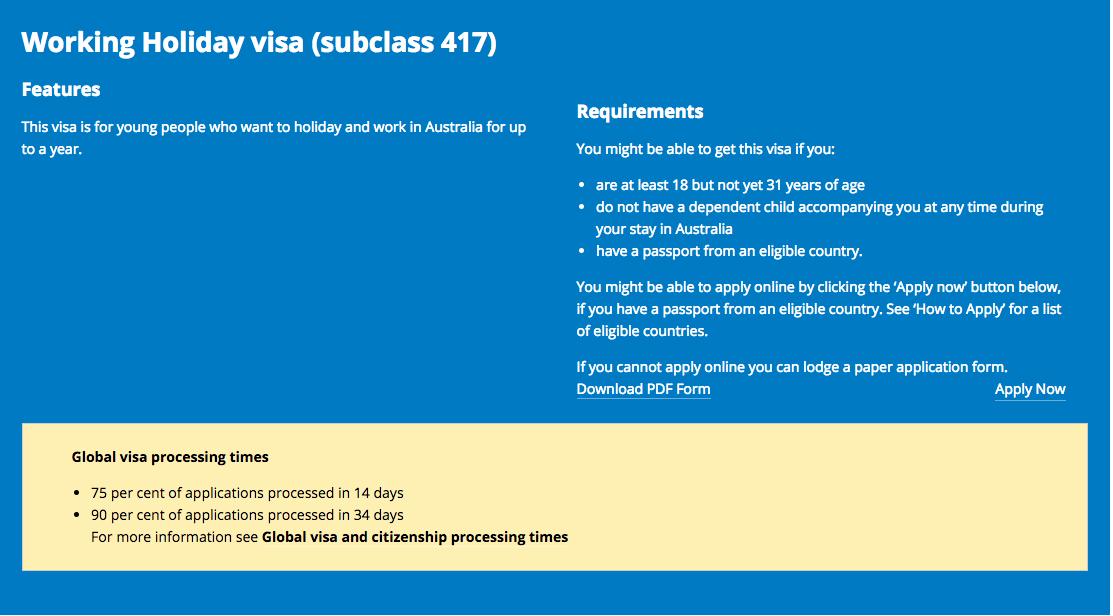 Delais pour obtenir un WHV Australie