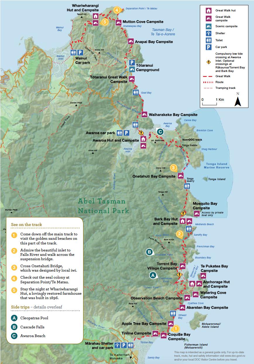 Abel Tasman Coast Track Nouvelle-Zelande Plan