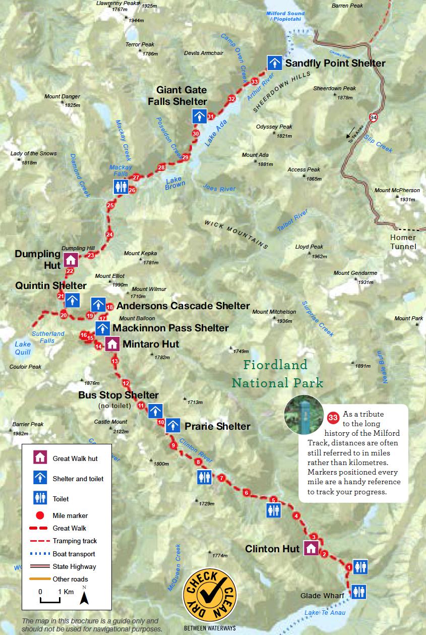 Milford Track Nouvelle-Zelande Plan
