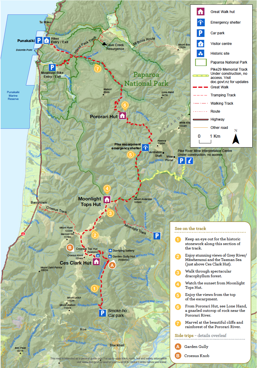 Paparoa Track Nouvelle-Zelande Plan
