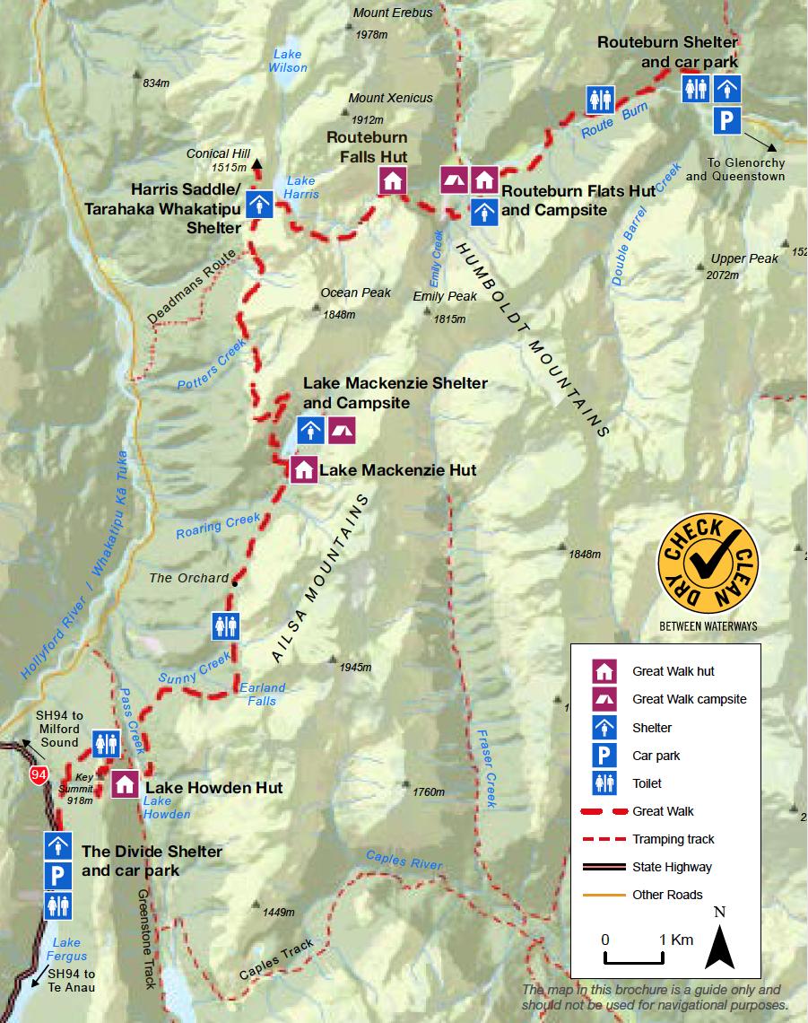 Routeburn Track Nouvelle-Zelande Plan