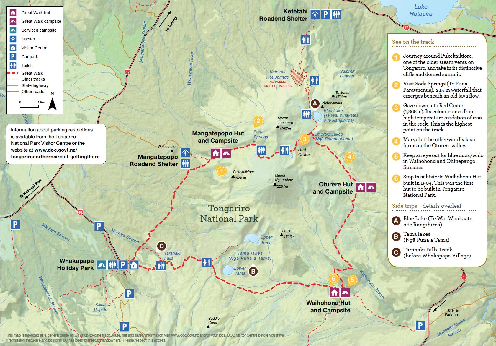 Tongariro Northern Circuit Nouvelle-Zelande - Plan