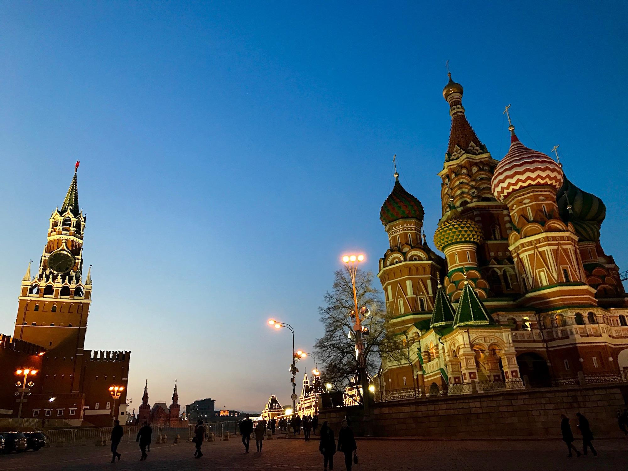 Eglise Saint Basile le bienheureux de nuit - Moscou - Russie