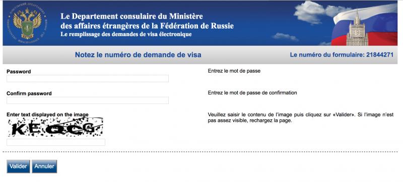Visa touriste pour la Russie - Identifiant
