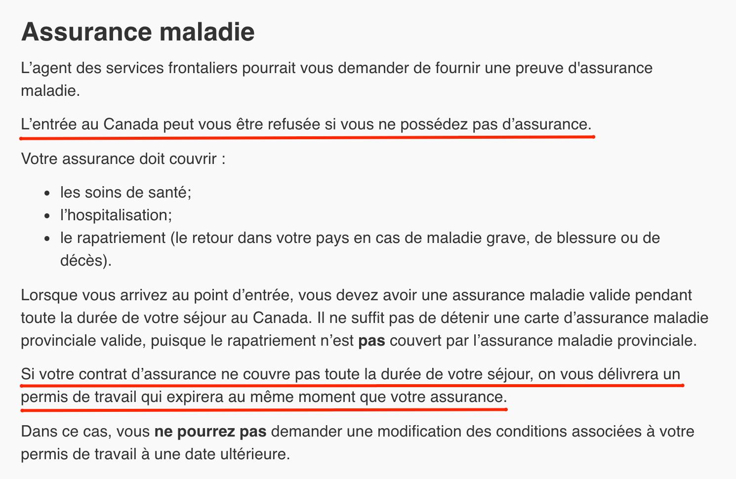 Assurance PVT Canada obligatoire 2