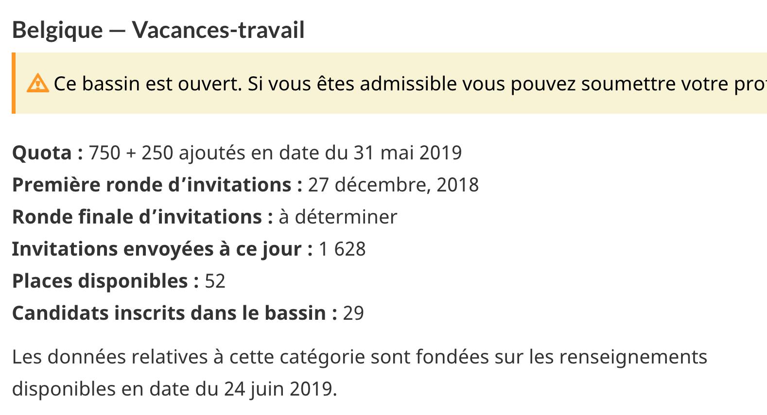 PVT Canada 2019 pour les Belges