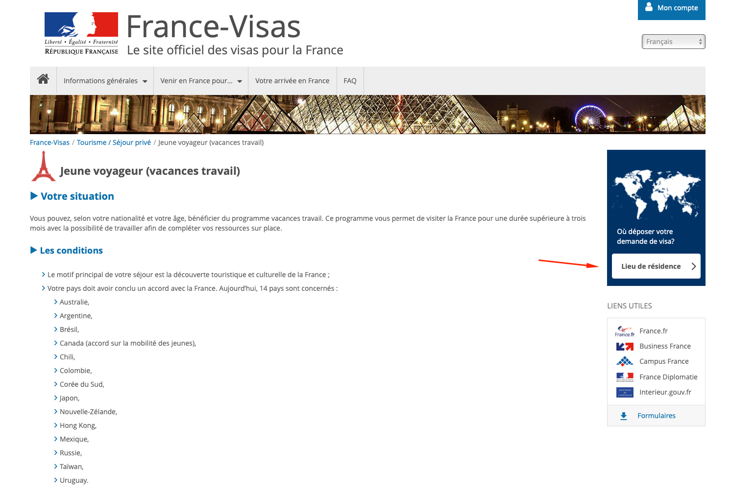 PVT France - demande de visa