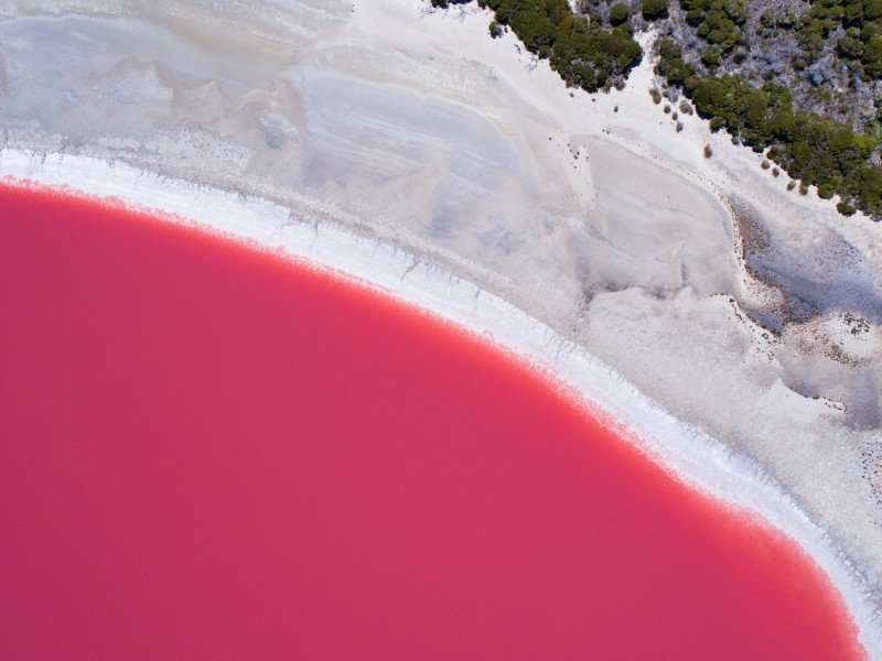 Aerial view of Lake Hillier, Middle Island near Esperance