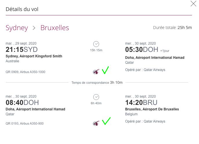 Sydney - Bruxelles OK